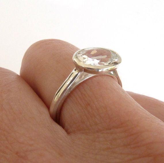 Large white topaz engagement ring white topaz solitaire
