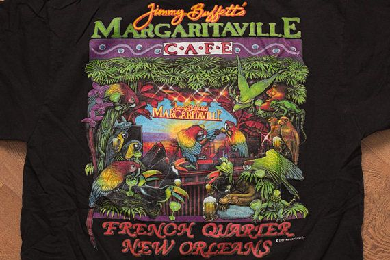 Jimmy Buffett's Margaritaville T-Shirt, French Quarter New Orleans, Vintage 90s, Rock & Roll Music Cafe, Tropical Parrots