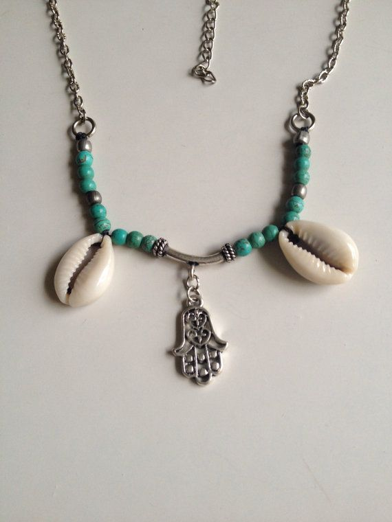 #Hamsa necklace with #turquoise beads handmade item by SuryaSoul