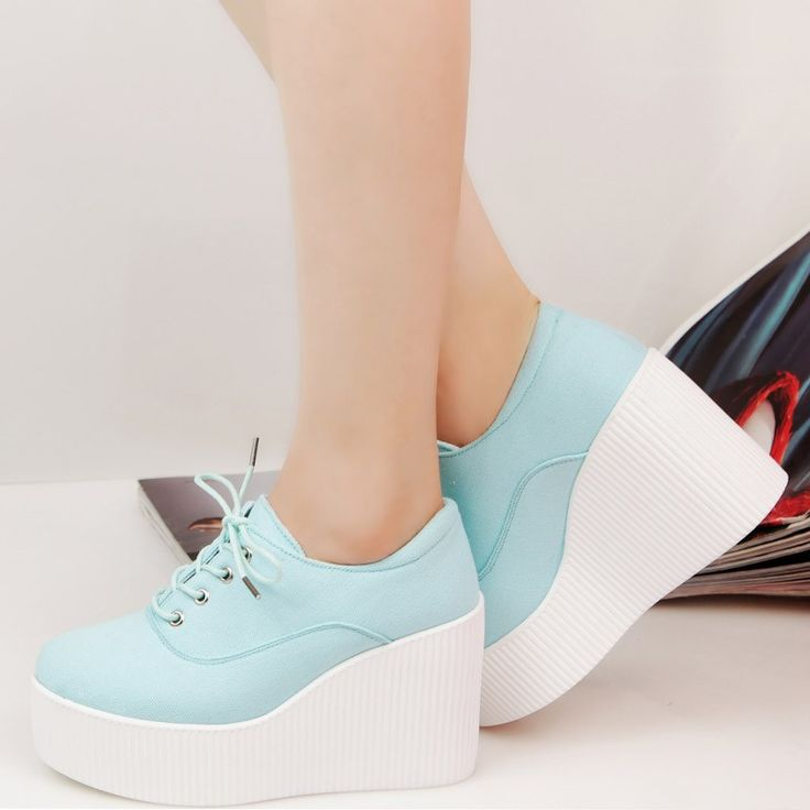 Canvas wedges shoes platform