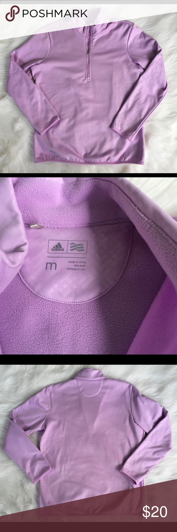 "Adidas Women's Athletic 1/4 Zip Pull Over Top SZ M Adidas Women's Outdoor Sportswear Golf 1/4 Zip Light Purple Fleece Jacket Pull Over Top Size Medium  Gently used  Arm Pit to Arm Pit 21"" laying flat  Total Length 26""  Clean and Smoke Free Home adidas Tops Sweatshirts & Hoodies"