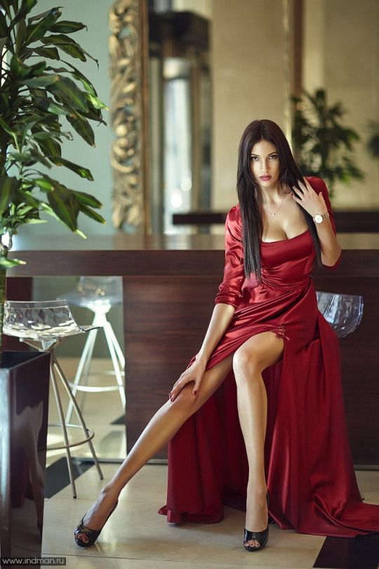 Terrific long legs escaping beautiful red dress | Revealed ...