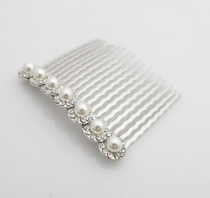Pearl Rhinestone 18 teeth Decorative Hair Comb  #VeryShine #Comb #decorativehaircomb