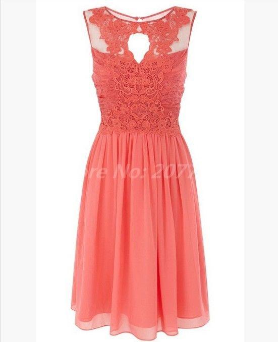 Scoop Coral Bridesmaids Dresses Pleat Halter Cheap Bridesmaid Dress Lace Short Party Dress 2014 New Bridesmaid Dress $69.99