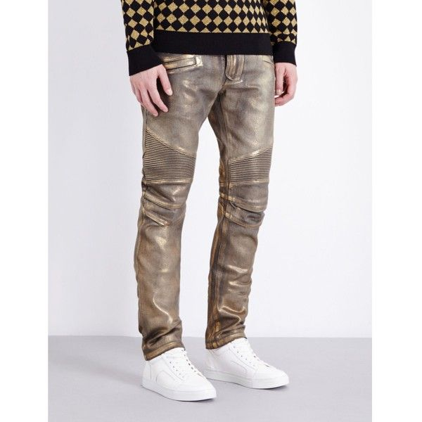 Balmain Metallic-coated regular-fit tapered jeans (€710) ❤ liked on Polyvore featuring men's fashion, men's clothing, men's jeans, mens tapered jeans, mens slim fit tapered jeans, mens white stretch skinny jeans, balmain men's jeans and mens stretch jeans