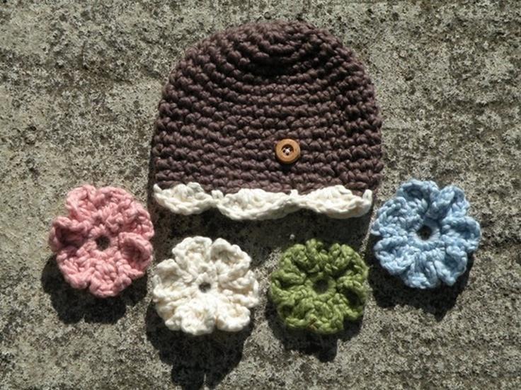 so sweet: Interchangeable Flowers, Flowers Hats, Flower Hats, Crochet Baby Hats, Organizations Crochet, Cute Ideas, Crochet Hats, Brown Organizations, Awesome Ideas