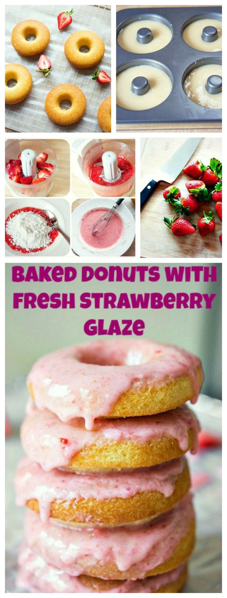These #Baked #Doughnuts with Fresh #Strawberry Glaze are SO good! They are the best baked doughnuts and are just a little #healthier than fried doughnuts. So what are you waiting for??