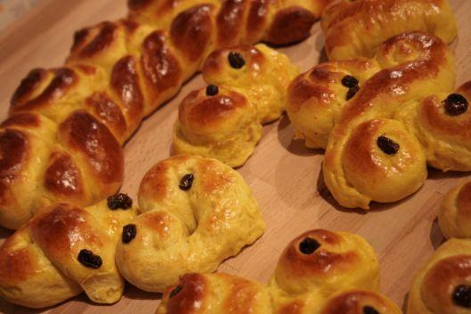 Lussekatter - Norwegian (Swedish) traditional pre-christmas yellow, sweet rolls