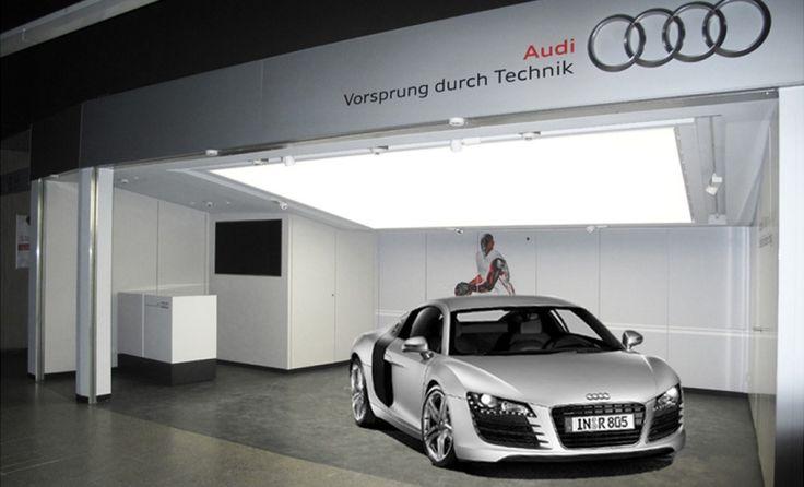 Dalle lumineuse suspendue : Dalle constituée d'un châssis aluminium, d'un système d'éclairage LED intégré ainsi que d'une toile tendue translucide et diffusante    #dalle #LED #intérieur #Audi