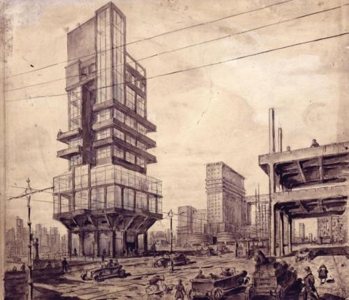 Lev Vladimirovich Rudnev, 'City of the Future', 1927 (Schusev Museum of Architecture).
