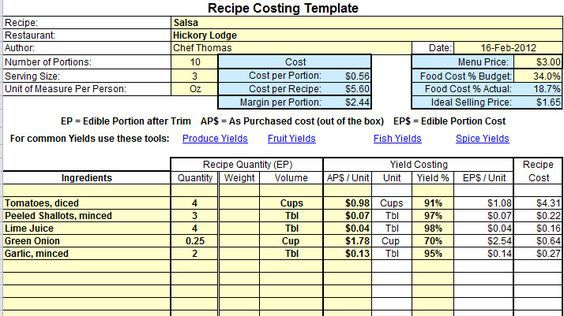 Excel Recipe Costing Template example