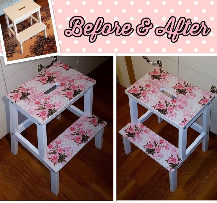 Persuaded my parents to let me give their Ikea Bekväm stool a decoupage makeover! Used napkins and Mod Podge 😊😍