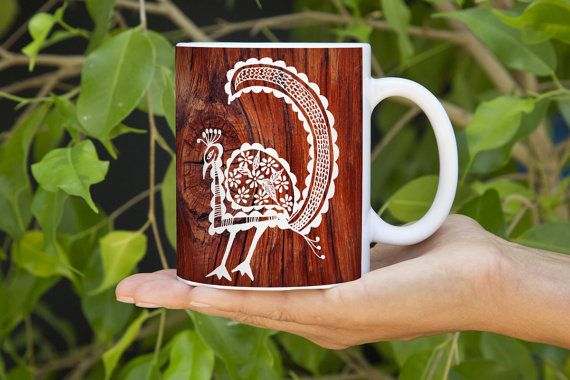 Mallika-e-bahaar- Mggk Signature Ink Art Mug #designer #art #coffee #inkart #indianart #pendesigns #handdesigned #zentangle #abstract #mugs #designer #unique #royalart  #brown #white #mandana #christmas #holiday #gits #buynow #peacock