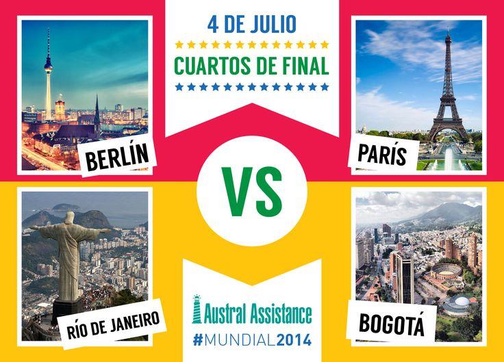 Cuartos de final #Mundial2014 #Alemania Vs. #Francia - #Brasil Vs. #Colombia ---> Austral Assistance - Asistencia al viajero, aquí y en todo el mundo. www.australassistance.com