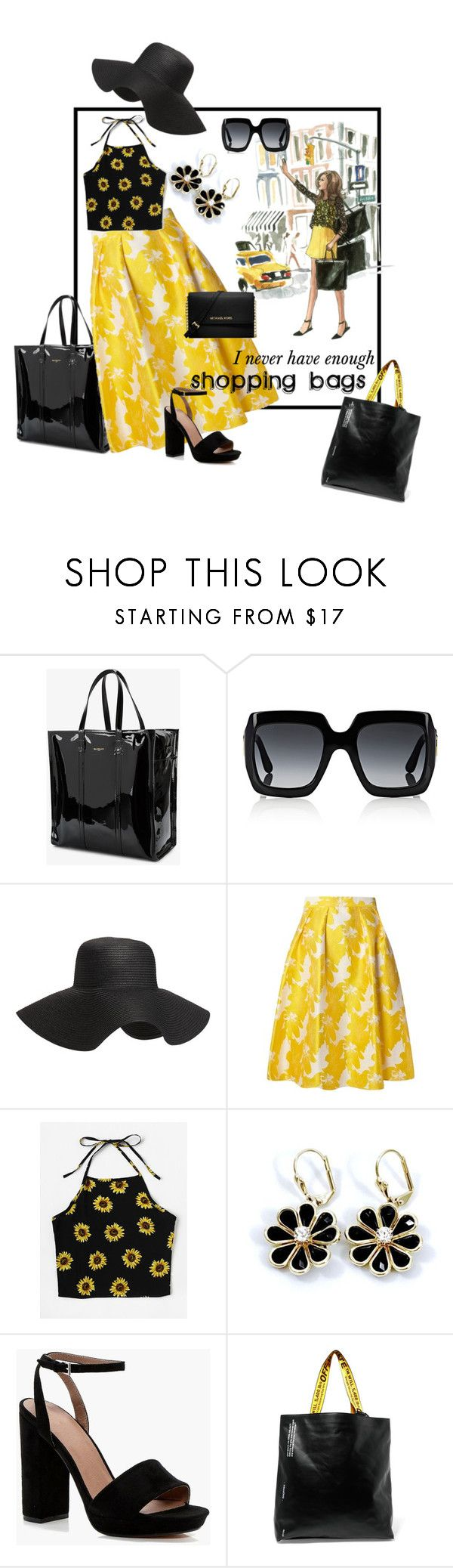 """How Many Shopping Bags?"" by kindlefraud ❤ liked on Polyvore featuring Balenciaga, Gucci, Old Navy, Dorothy Perkins, Boohoo, Off-White and Michael Kors"