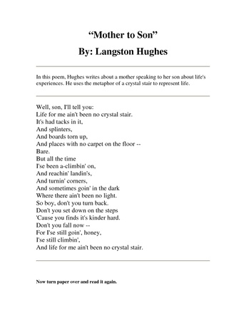 Mother to son by langston huges essay