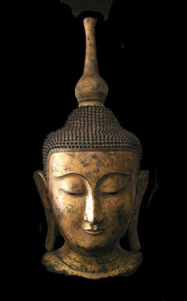 Shan Gilt Wooden Head of Buddha,         Origin: Myanmar Circa: 18th Century AD