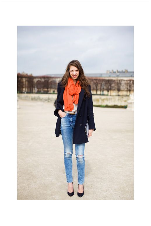 Love the navy jacket and orange scarf
