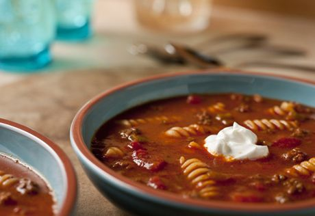 This family-friendlyrecipe mixes pasta with the great flavors of tacos to make a hearty and delcious soup.