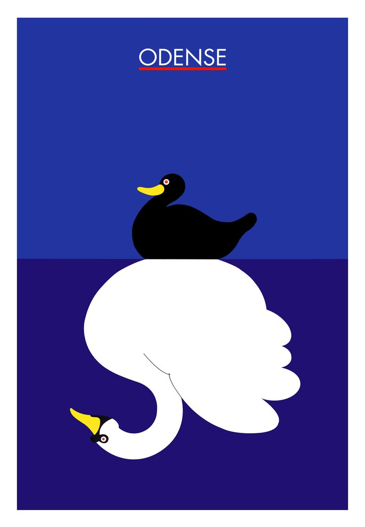 Danish travel poster: 'The Ugly Duckling' - Odense (Hometown of H.C. Andersen) - Danish artist Per Arnoldi