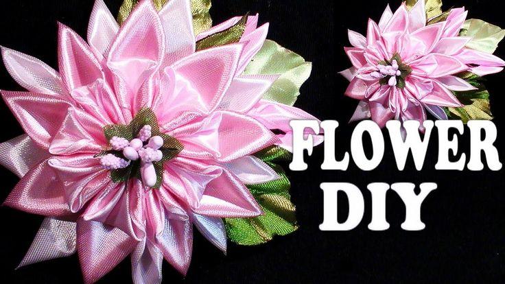 DIY Satin Ribbon flower tutorial, Kanzashi Tatiana Vasyliuk, Цветы канзаши своими руками
