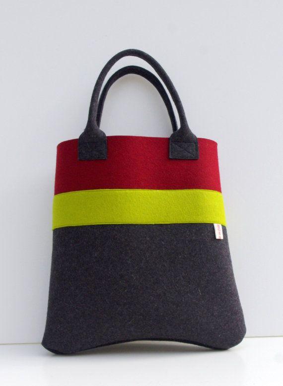 Bolso hecho a mano, sentido totalizador, Borgoña y fieltro de lana gris Shopper, bolso de compras, comprador