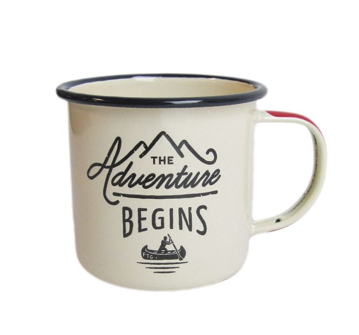 """This enamel mug features The Adventure Begins design on the front with the Gentlemen's Hardware logo on the opposite side. A compass is printed on the bottom of the mug. 3"""" tall x 3.5"""" wide - approxim"""