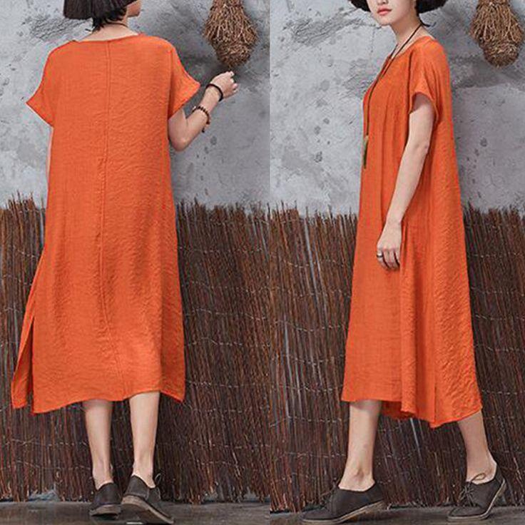 Casual Women Vintage Short Sleeve Pockets Dresses