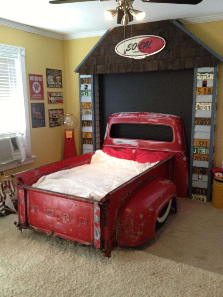 A bed I built for my son out of a 1956 Ford F100.  Had to narrow the entire truck about 6 inches.  Completely sanded to metal and painted with interior latex, then 2 coats of interior clear.