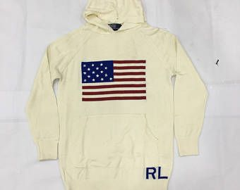 90's Polo Ralph Lauren Hoodie White Cream Polo Sweatshirt Polo Jumper Pullover Polo USA Size S #S825