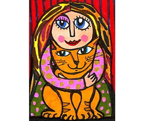 Whimsical Art Cat Art Girls Room Decor by AGirlAnOwlAndACat, $10.00