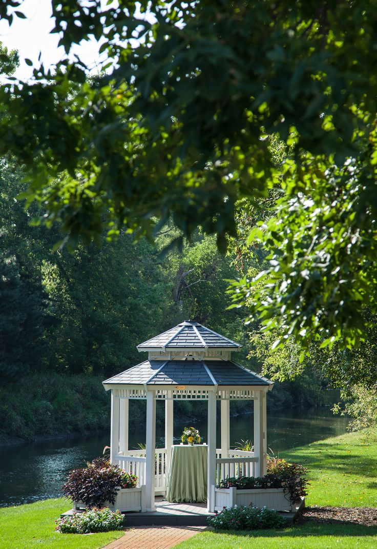 Our outdoor gazebo is great for couples that want to do onsite ceremonies outside!