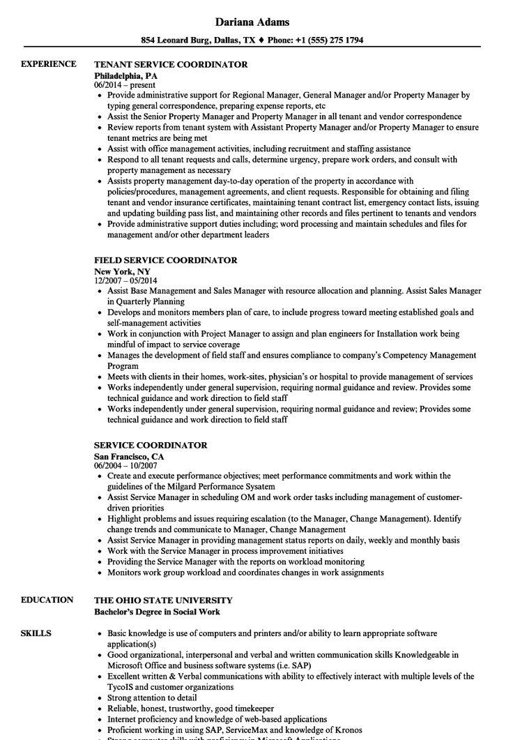 Service Coordinator Resume Samples Resume examples
