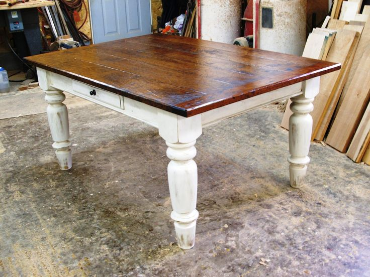 Cherry Wood w White Scrubbed Base  stained to match bookcases     Farmhouse  Kitchen TablesCustom. 28 best Farmhouse Tables images on Pinterest   Farmhouse table