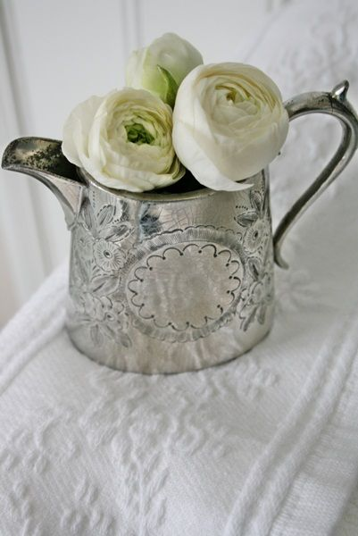 DIY ~ Antique Home Decor ~ Use Antique and Vintage Silver Tea and Coffee pots as Floral Containers