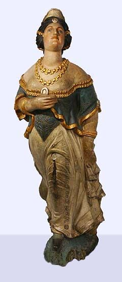 19th Century carved and painted wooden ship's figurehead from the North American bark EDINBURGH.