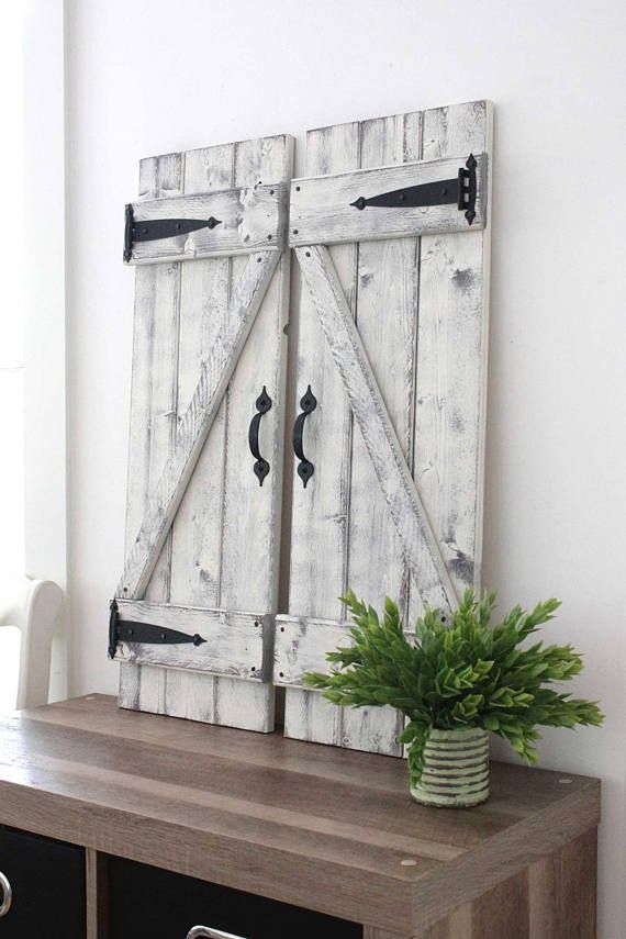 2 Rustic Shutters 30 X 10 5 Gallery Wall Fixer Upper Decor Wood Shutter Modern Farmhouse In 2019 Decorating Ideas