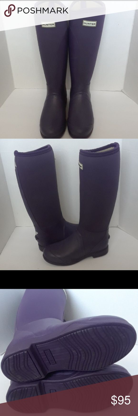 Hunter Balmoral neoprene stretch boots Sz 8 (iris) Developed in conjunction with experts in the equestrian field, the Balmoral Equestrian Neoprene boots are the perfect welly for horse riding.  Neoprene upper with rubber inside-leg panelsAirmesh neoprene liningRiding sole with metal shank  No box up for all offers   Hunter Boots Shoes Winter & Rain Boots