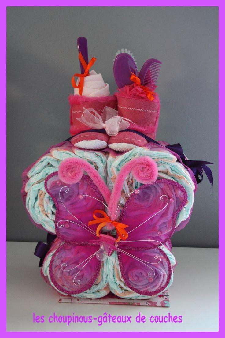125 best g teau de couches cadeau naissance bapt me baby - Decoration gateau papillon ...