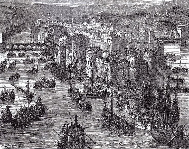 March 28, 845: Paris captured by the Vikings. Led by Ragnar Lodbrok of legend, 120 Viking ships beseiged and captured the city. After Charles the Bald paid a Danegeld of 700 pounds of silver, they left without burning the city, then went on to attack other parts of France.