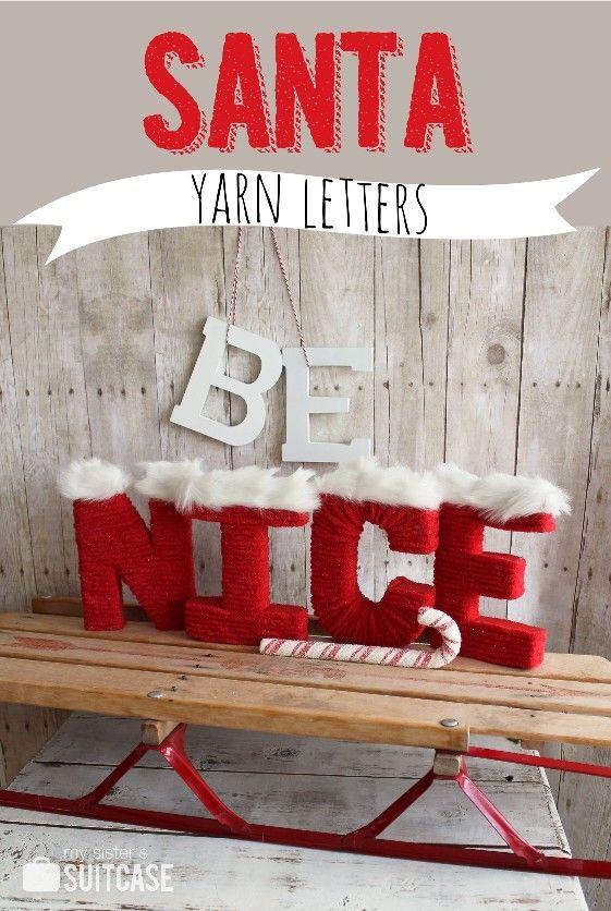 Santa Yarn-wrapped Letters - easy and fun Christmas Decor! #DIY #christmas #yarnletter