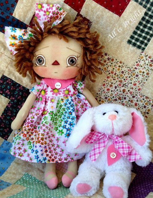 Raggedy Doll  Callie & Bunny Fufu by Allisbright on Etsy