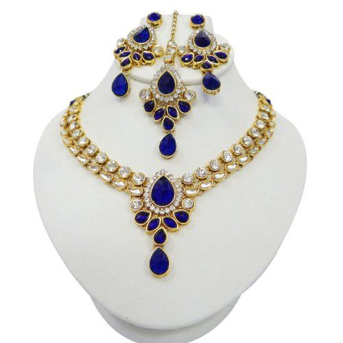 Indian Women Wedding Bridal Royal Blue CZ Gold Tone Necklace Set Party Wear Costume Jewellery Gift Indianbeautifulart, http://www.amazon.co.uk/dp/B00EYA5ARK/ref=cm_sw_r_pi_dp_KKZSsb0H980YT/278-4218511-8756304