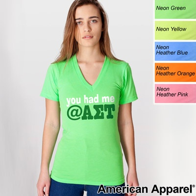 American Apparel Neon Printed V-Neck Shirt $22.95 #Sorority #Clothing #Greek: Apparel Shirts, Apparel Neon, American Apparel, Shirt 22 95, 22 95 Sorority, Aσt Letters, Printed Shirts, Books Worth, Alpha Sigma