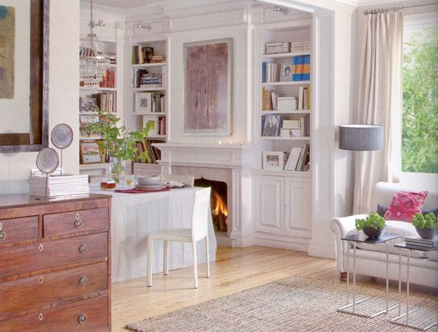 Dining Room Combined With A Library Fireplace