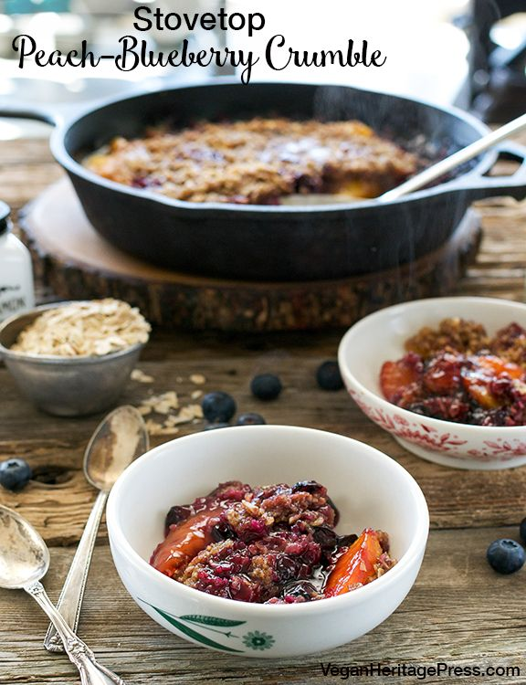 Stovetop Peach-Blueberry Crumble from Cook the Pantry by Robin Robertson