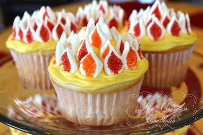 From The Careless Catholic: Flaming Cupcakes for Pentecost! Ok, this just makes me laugh. I wonder if there's a cupcake for every liturgical highlight. This is very appropo for my Holy Craft board too...