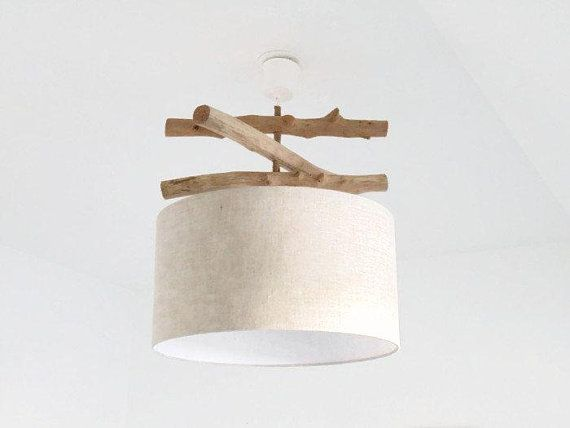 Chandelier cylinder Driftwood linen 45 cm lamp shade cylindrical