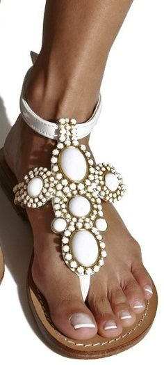 Mystique White patent leather sandals with gemstones?? | Keep the Glamour | BeStayBeautiful
