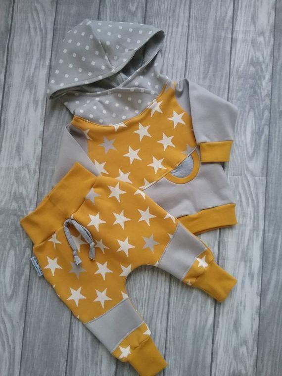 Pumphose Baby Jungen Hose Kinder Sterne Senf Babykleidung Baby Clothes Boys Hoodies Baby Sets